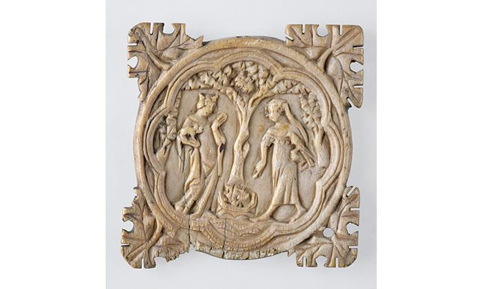 Valve de miroir : Tristan et Iseult se retrouvent dans le verger, 14e siècle, Cl. 13298