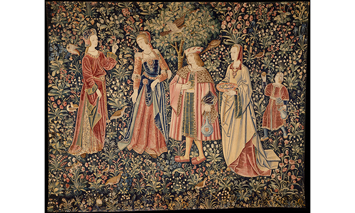 tenture de la Vie Seigneuriale, la Promenade, 16e siècle, Cl. 2178