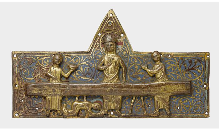 Plaque de châsse : le repas chez Simon, 13e siècle, Cl. 977