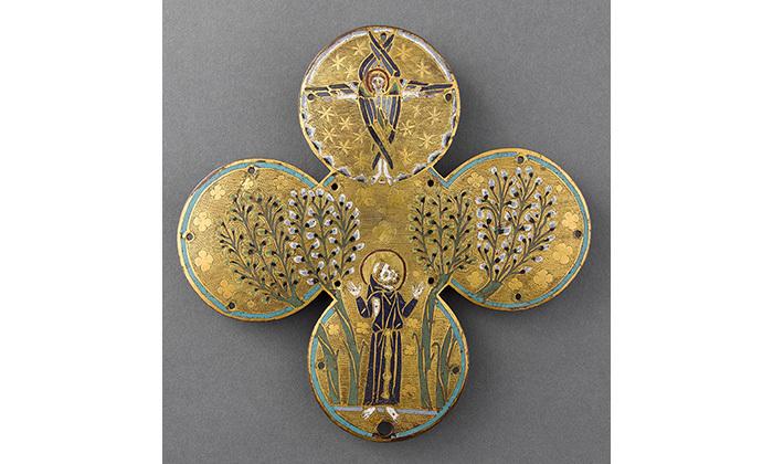 Plaque quadrilobée : saint François d'Assise recevant les stigmates, 13e siècle, ML 84