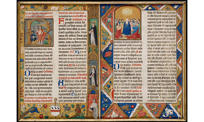 Feuillet d'un missel : la Pentecôte, 16e siècle, Cl. 23538