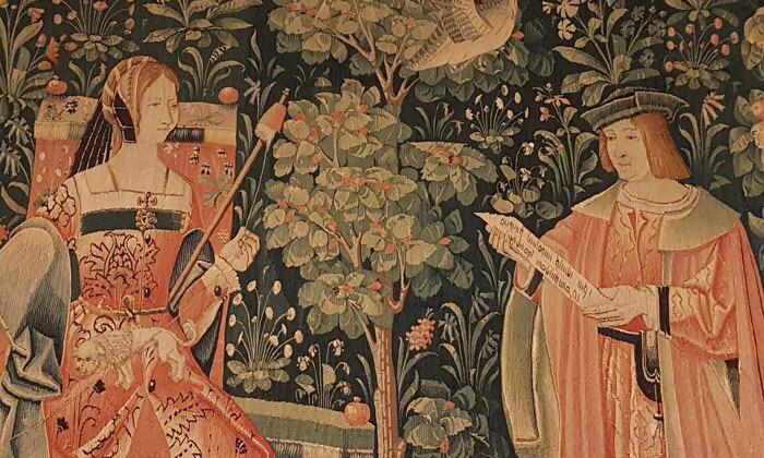 Tenture de la vie seigneuriale: la Lecture, 16e siècle, Cl. 2182