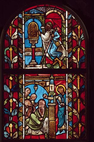 Vitrail provenant de Troyes : Miracles de Saint Nicolas Cl 22849 a b