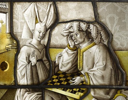 Les joueurs d'échec, vitrail (Détail 1)