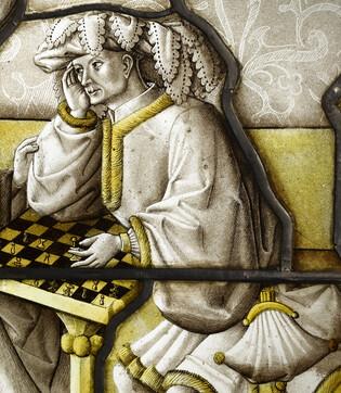 Les joueurs d'échec, vitrail (Détail 3)