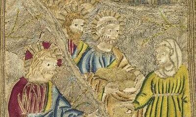Mini-Bande d'orfroi de chape Scènes de la vie du Christ