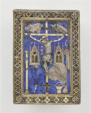 Tableau reliquaire-crucifixion entourée des instruments de la passion-1